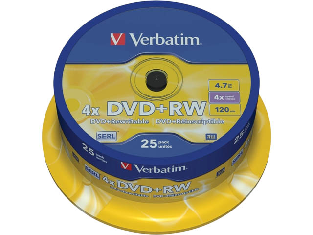 Spindle de 25 DVD+RW 4,7 GB 4x